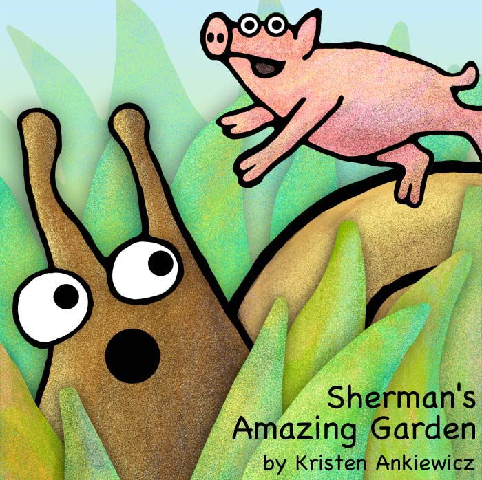 Perry the pig flies high over Sherman in the garden. This  picture book has tons of colorfully detailed drawings.  There are worms! And cows! And a giant birthday party at the end!