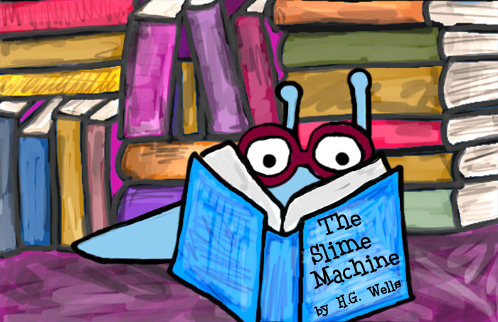 Sluggo reads a book! He's a super smart slug