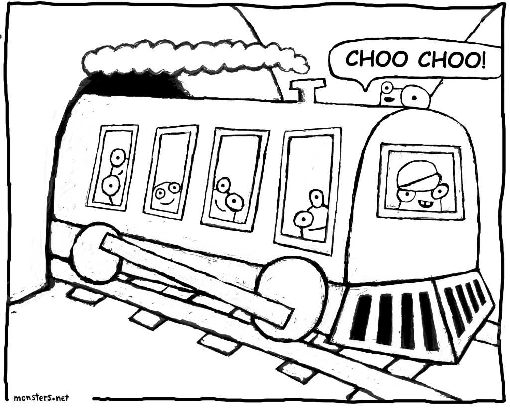 Choo Choo Train Coloring Book Page - Monsters by Kristen
